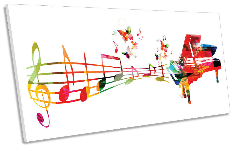 Abstract Music Notes Piano CANVAS ART Print Panoramic Picture