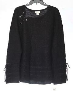 LJ38-Style-amp-co-Women-039-s-Plus-Lace-Up-Lantern-Sleeve-Sweater-NWT-Size-2X-MSRP-59
