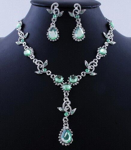 Set collar aretes gotas schmuckset pedrería cadena Collier Chandelier 5 imágenes en color