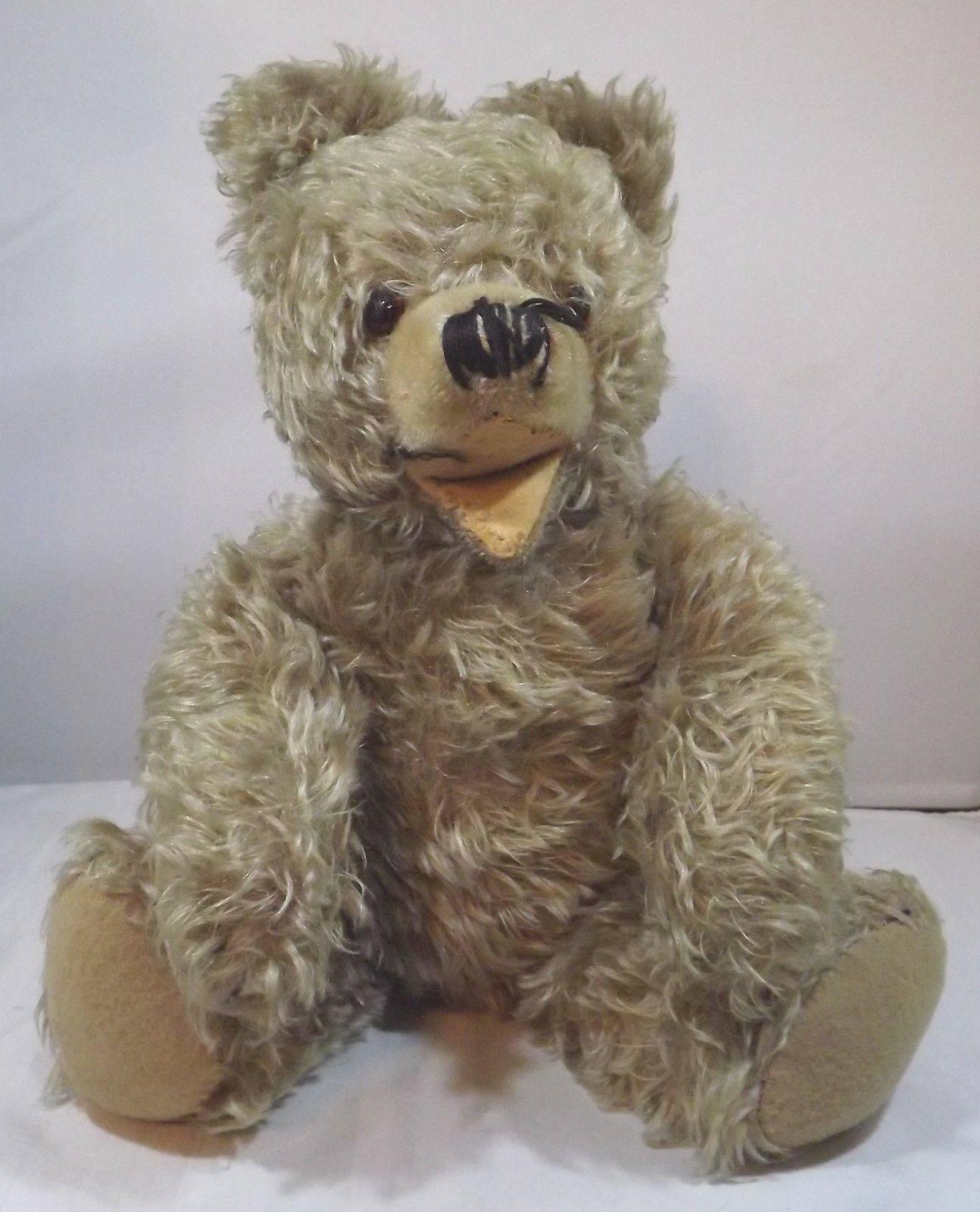 Vintage 1960s 43cm German Zotty-Type Jointed Mohair Teddy Bear - Needs Repair