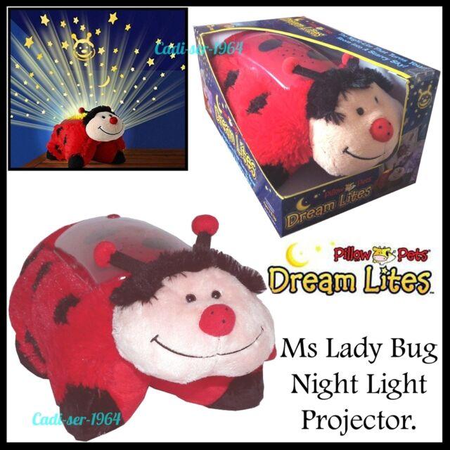 NEW Dream Lites Pillow Pets Night Light Ms Ladybug Ladybird Projector Nightlight