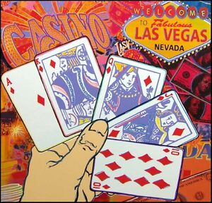 """Steve Kaufman """"Welcome to Las Vegas-Poker"""" Pink Hand Signed Embellished Canvas"""
