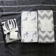 POTTERY BARN KIDS Zachary Zebra crib fitted sheet sham Skirt 3pc gray
