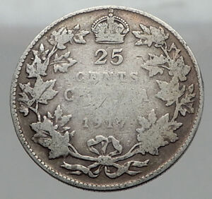 1917-CANADA-UK-King-George-V-Authentic-Original-SILVER-25-CENTS-Coin-i62961