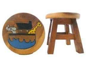Childs childrens wooden stool noahs ark step stool ebay