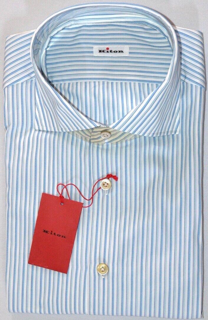 KITON herren Handmade Weiß Light Blau Stripe Slim Dress hemd Größe 18 NEW  600