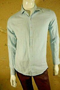 REISS-SLIM-FIT-Taille-M-Superbe-chemise-manches-longues-bleu-clair-homme-shirt