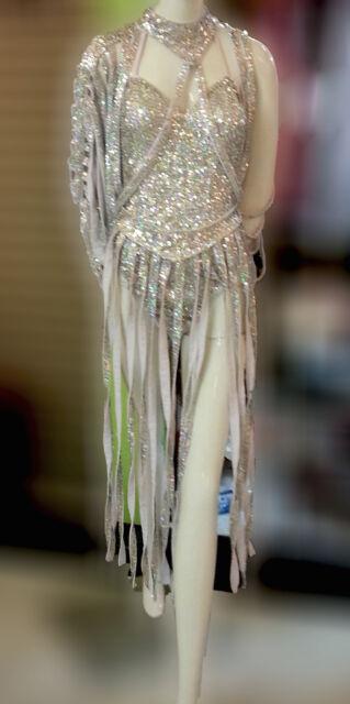 DaNeeNa M557C Vegas Burlesque Sequin Dance Leotard Bodysuit Dress XS-XL