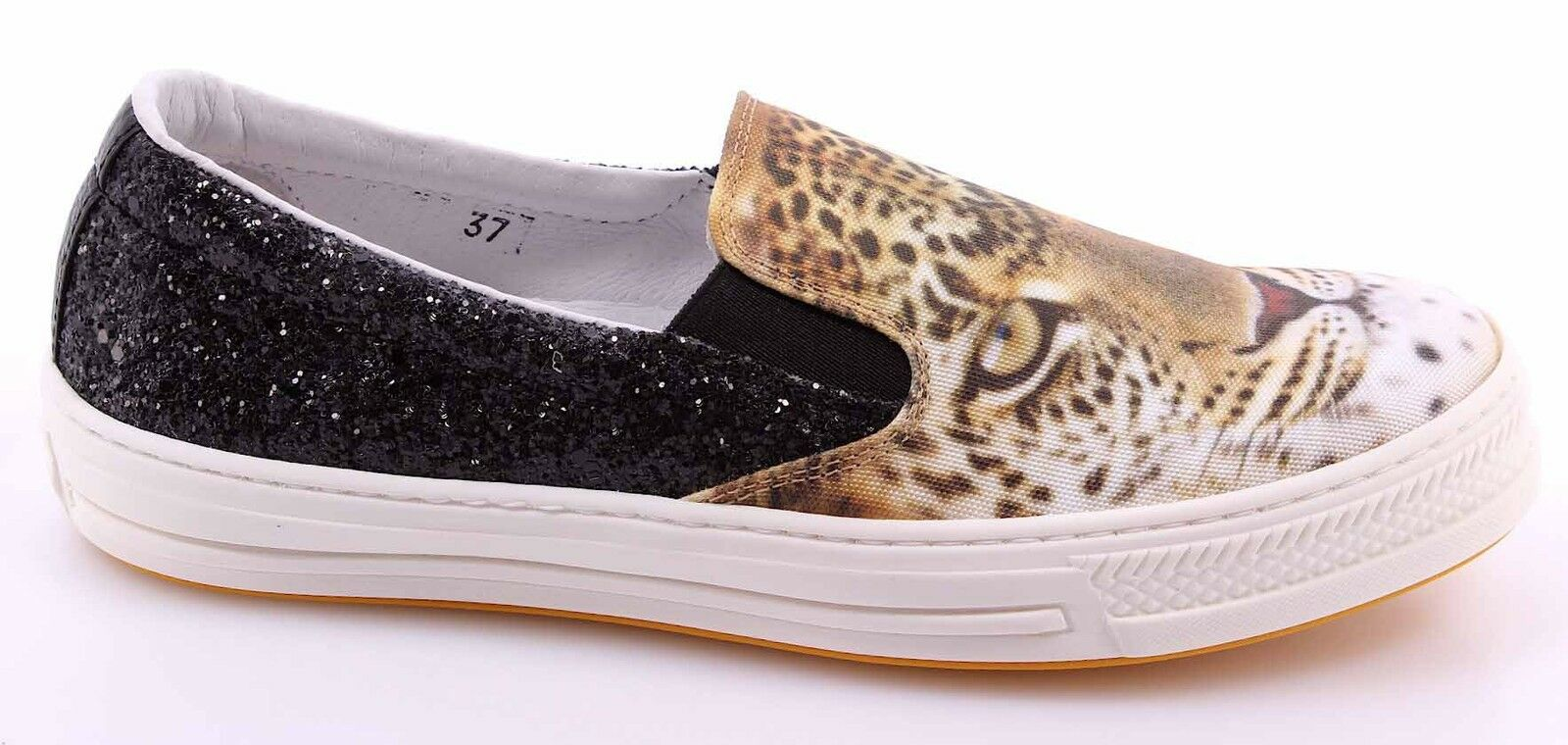Women's Slip On Sneakers CHANGE  Giaguaro Raso Bianco Glitter black Made