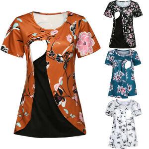 Women-Maternity-Pregnant-Nursing-Wrap-Floral-Short-Sleeve-Tee-T-Shirt-Top-Blouse