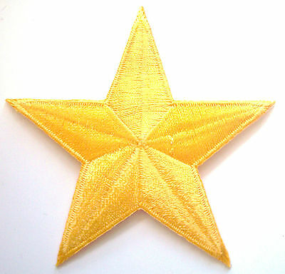 BRIGHT YELLOW 3 inch iron on star patch applique kid embellishment - 146