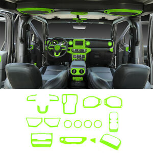17pcs Interior Decoration Cover Trim Accessories For Jeep Wrangler JL 2018+Green