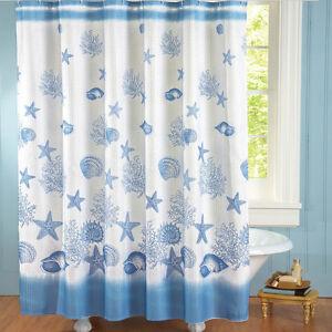 Coastal-Bay-Shower-Curtain-White-Blue-Seashells-Polyester-Nautical-Ocean-Bath