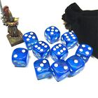 10x Transparent Clear Sky BLUE 16mm D6 Square Cube DICE Round Corner with Bag
