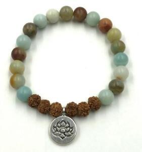 8mm-Rudraksha-Amazonite-bracelet-Reiki-energy-pray-Chakas-Healing-Unisex