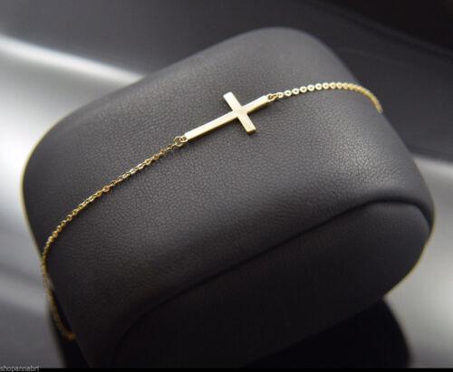 "New 14k Gold Side Cross Bracelet Adjustable Rolo Chain Link 7/""-8/"" Latin Cruz Oro"