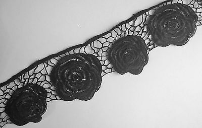 Black Rose Embroidery Guipure Lace Sewing Applique Motif Haberdashery  (LC0016)