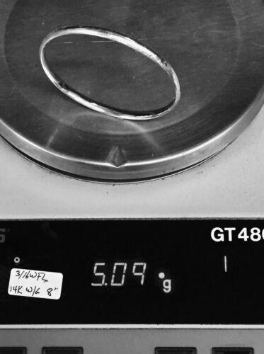 "14Kt or Blanc Florentine gravé charnière BANGLE//BRACELET 7/"" 5 mm 3//16 4.6 g"