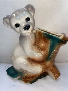 Vtg 1950-60's Royal Copley USA White Polar Bear Cub Tree Trunk Planter Vase
