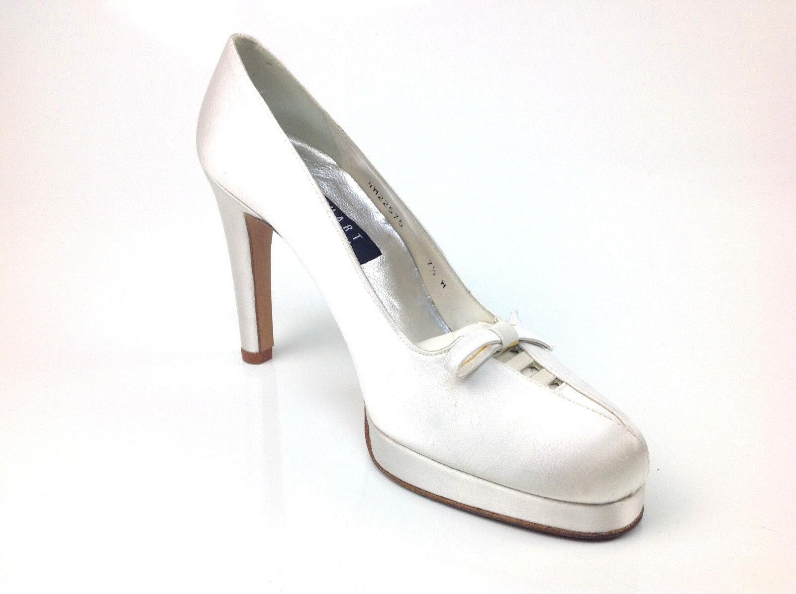 Stuart Weitzman Womens Heels  Bowlerama  White Satin Size 9.5 C