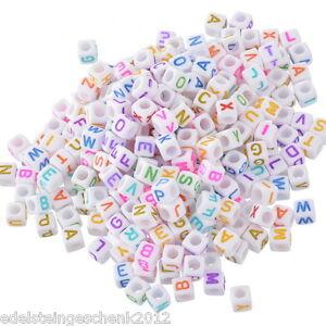 500-Neu-Weiss-Acryl-Buchstaben-034-A-Z-034-Wuerfel-Perlen-Spacer-Beads-6x6mm