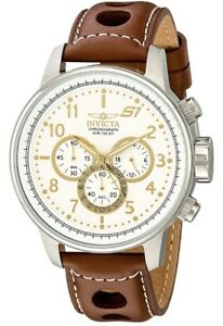 Invicta-Men-039-s-16010-S1-034-Rally-034-Stainless-Steel-Brown-Leather-Chronograph-Watch