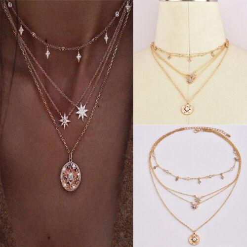 Women/'s Jewelry Multilayer Star Rhinestone Crystal Chain Pendant Choker Necklace