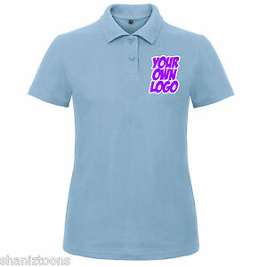Bulk Womens Buy Blue T Logo Ladies Design Shirt X3 Personalised Light Polo Text wZqSx0Yd