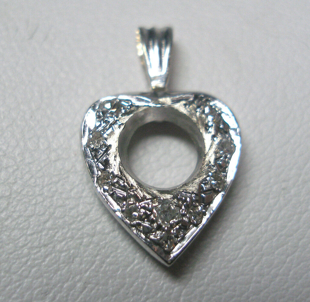 ESTATE SALE 14KT W G GENUINE DIAMOND HEART PENDANT