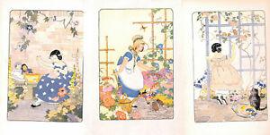 Collection-of-14-charming-children-039-s-prints-Turned-Into-039-s-Garden-1935-Floral-Fab