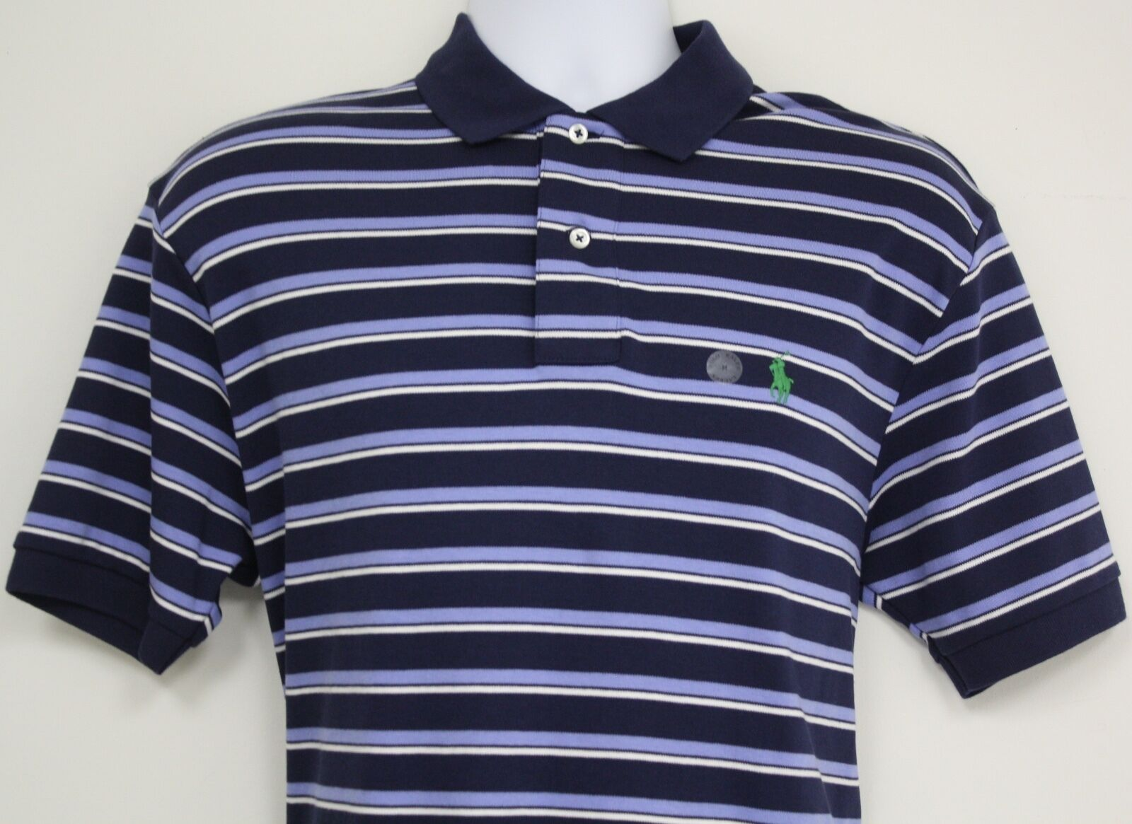 Polo Ralph Lauren shirt Navy bluee White striped shirt Green Pony logo Smooth