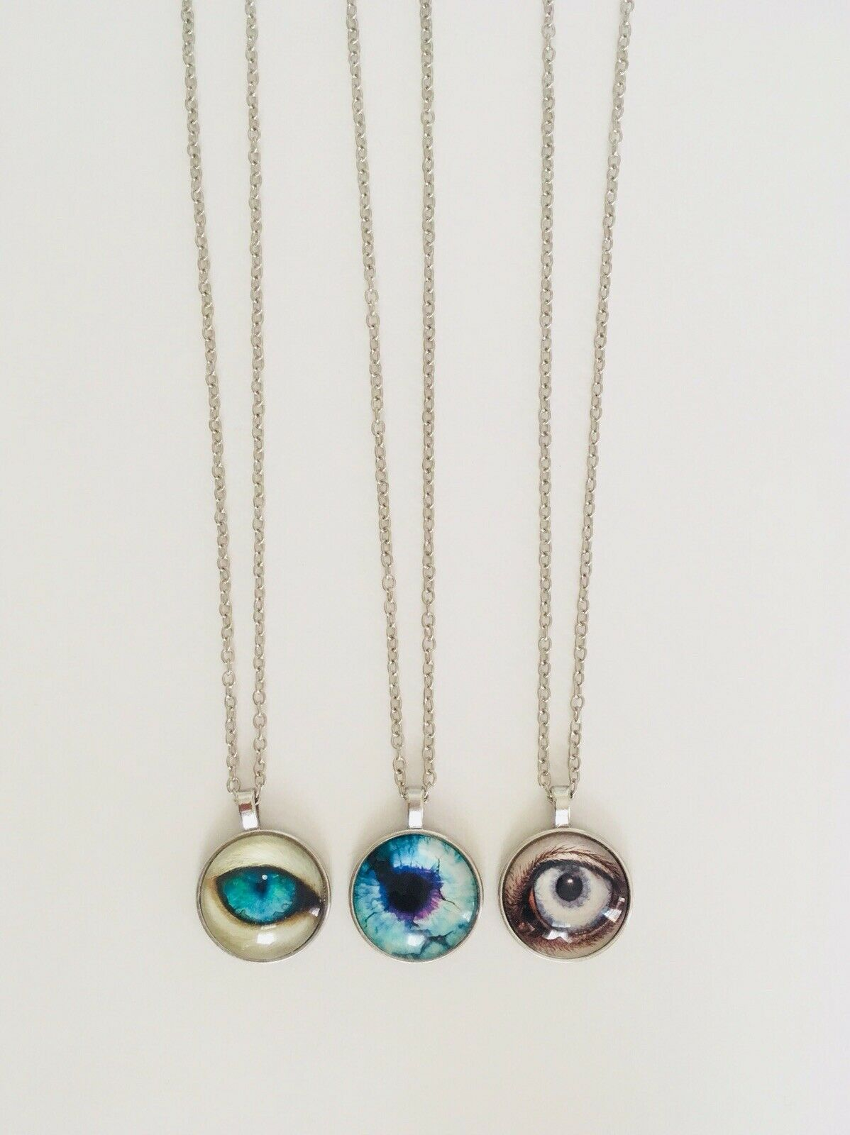 Women Men One Of A Kind Resin Animal Eyes Set Of 3 Necklace Pendants With Chains