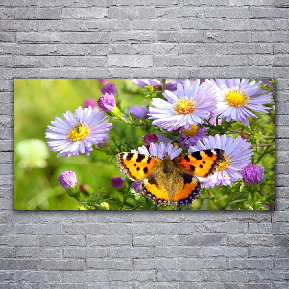Glasbilder Wandbild Druck auf Glas 120x60 Blaumen Schmetterling Natur