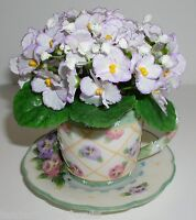 Pansy Teacup Flower Arrangement Resin A.richesco