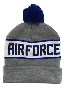 1X US Air Force Knit Pom Beanie Toboggan Hat Cap Gray Blue Black ... 2eaa6db5e72