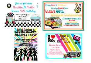 50s 60s 70s 80s personalised theme party invitations Male