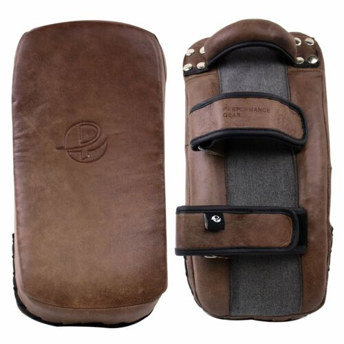 Brown Vintage Leather Thai Pad MMA Muay Thai Boxing Training