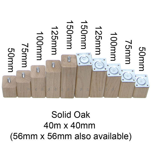 Solid Oak Furniture Feet / Foot / Legs 40mm sq for Sofa, Settee, Cabinets & Beds
