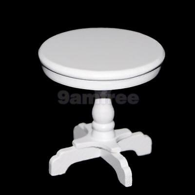1:12 Dollhouse Bedroom Furniture White Round Table Desk Tea Coffe Table Wooden