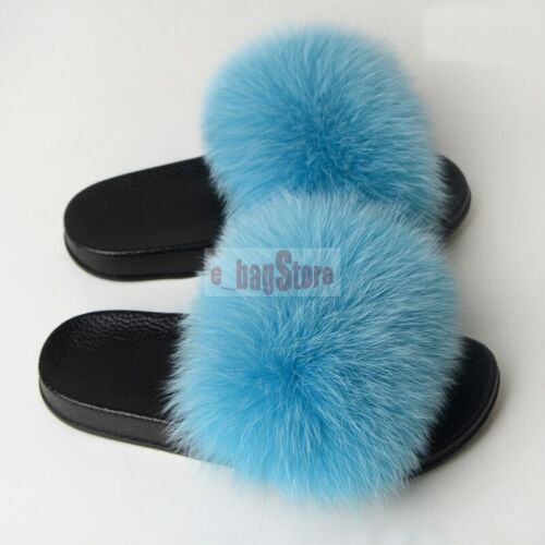 Femme fourrure renard véritable//raton laveur fourrure diapositives pantoufle d/'intérieur Sandale Outdoor Chaussures
