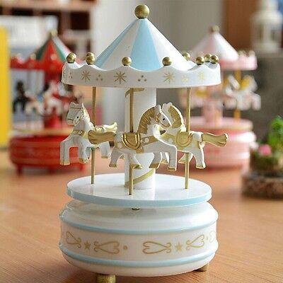 Wooden Horse Rotating Carousel Figurine Music Box Birthday Xmas Kids Gift #13