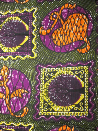 New African Tree /& leaves Print Fabric BY 1//2 YARD fancy wax cloth p532