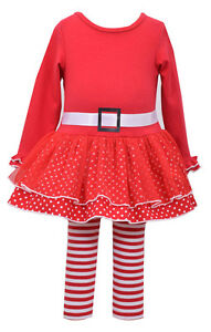 Bonnie Jean Christmas Santa Red Holiday Dress 2 pc set Baby Girls 0-24 Months