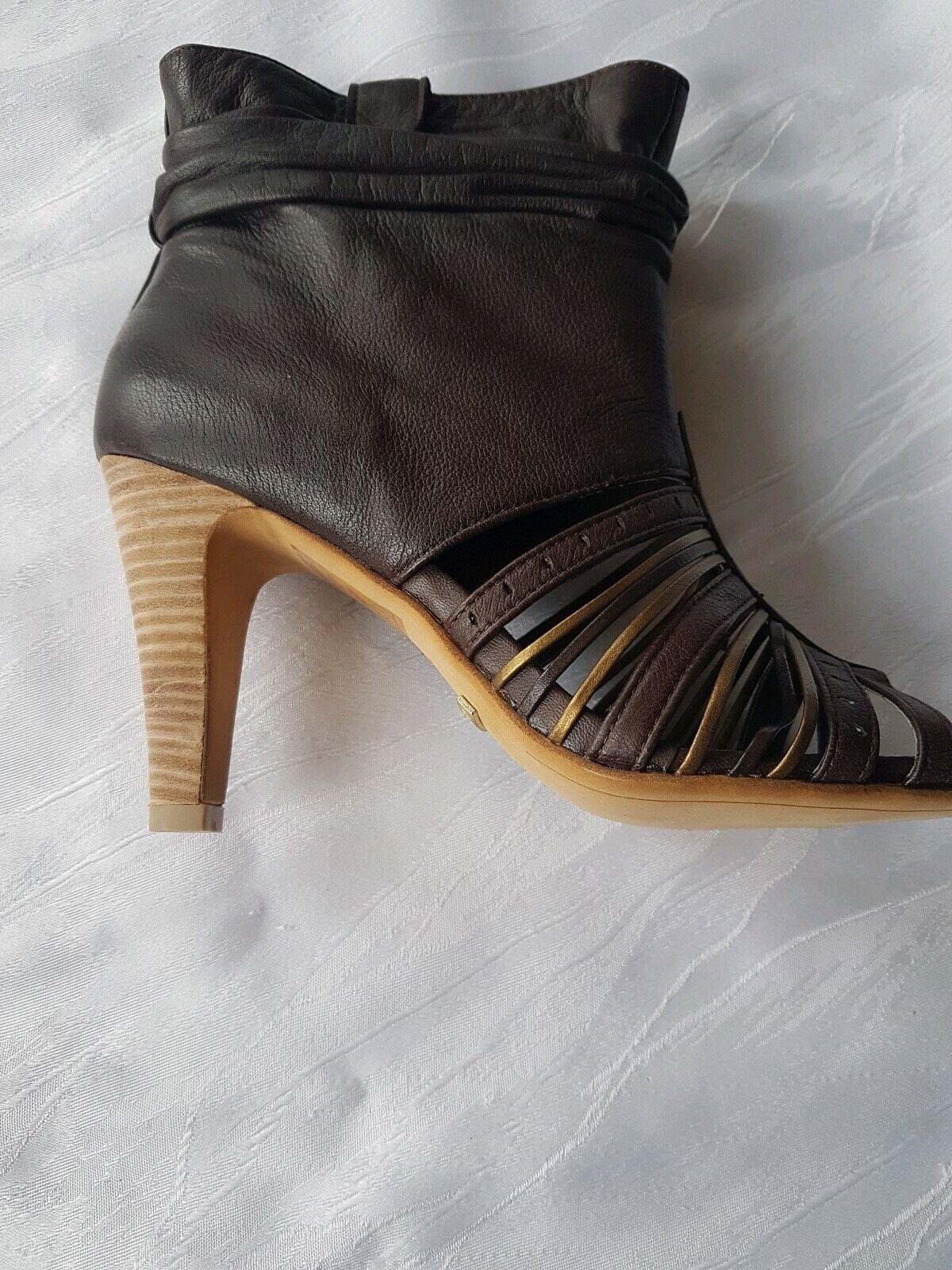 Damen Leder Halbschuh MEXX Stiefelette Leder Mix Braun  Gr. 39 Top