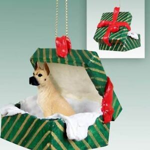 Great Dane Fawn Cropped Ears Dog Green Gift Box Holiday ...