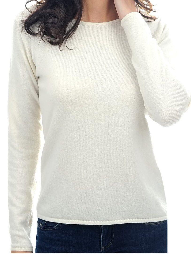 Balldiri 100% Cashmere Damen Pullover Rundhals 2-fädig ecru S