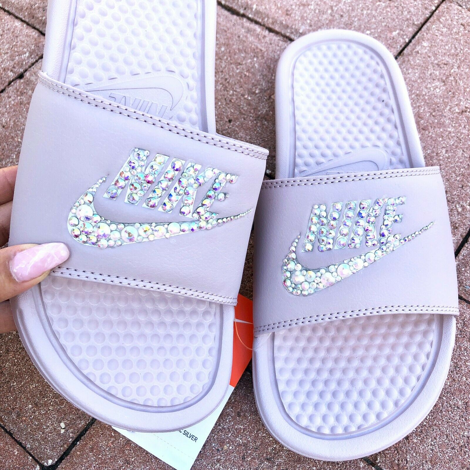 NWT Nike Womens Slides Sandals Swarovski Crystal Bling Bedazzled bluesh Size 11