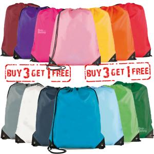 School Drawstring Book Bag Sport Gym Swim PE Dance Girls Boys Kids Backpack UK