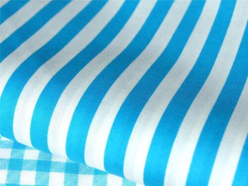 BRIGHT BLUE 100/% COTTON STRIPES craft dress patchwork bunting kids neon