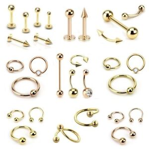 Gold-Plated-Labret-Tragus-Cartilage-Lip-Bar-Horseshoe-CBR-Piercing-Ear-Ring-Rose